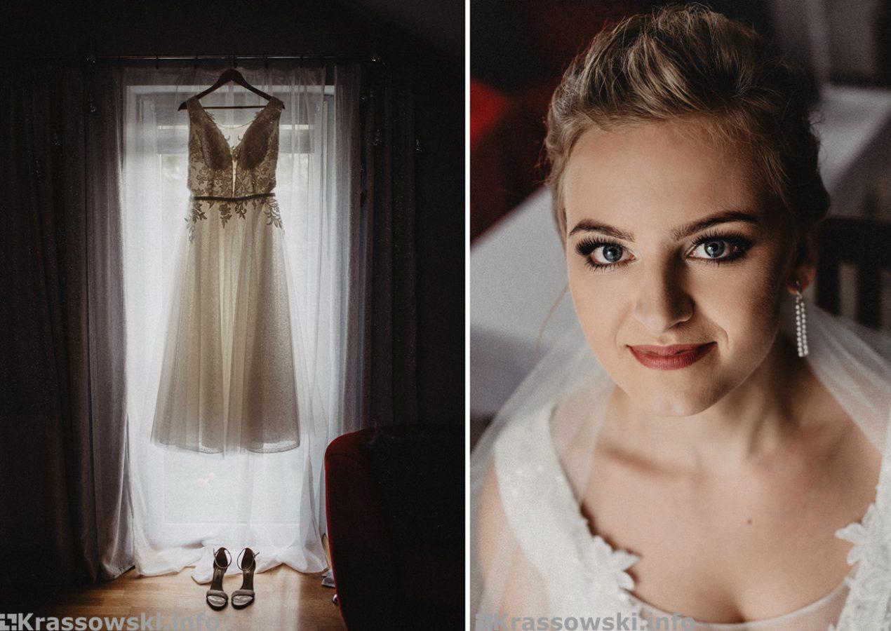 Fotograf ślubny Kielce przygotowania Pany Młodej suknia i portret